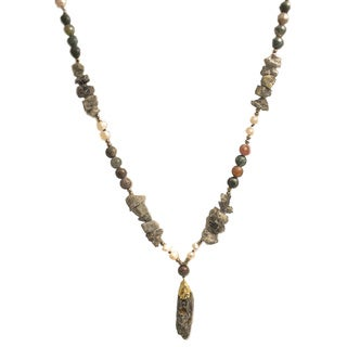 Green Quartz Agate Bead Gold-tone Edge 30-inch Pendant Necklace