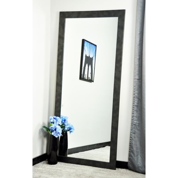 BrandtWorks Clouded Gunmetal Framed Floor Mirror - Black