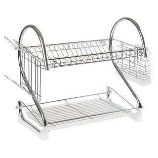 Chrome Dish Drying Rack – 2 tiered with Cup and Utensil holders by Chef Buddy