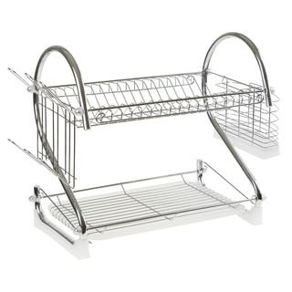 Chrome Dish Drying Rack  2 tiered with Cup and Utensil holders by Chef Buddy|https://ak1.ostkcdn.com/images/products/14505524/P21061868.jpg?impolicy=medium