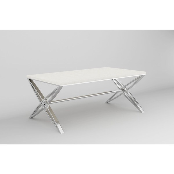 Emerald Home Travelle Stainless Steel and Galala Cocktail Table