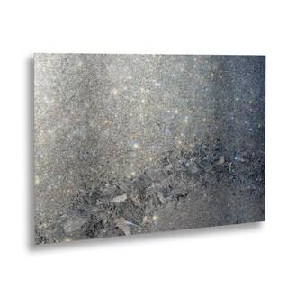 Kurt Shaffer 'Frost Pattern Sun Stars' Floating Brushed Aluminum Art