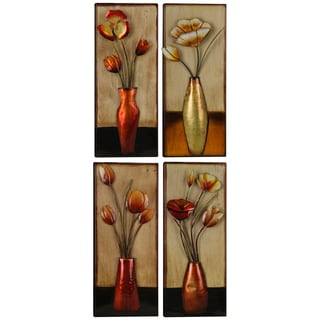 Metal Small Floral Vase Assorted Panels (Set of 4)
