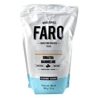 Faro Roasting Houses 2-pound Sumatra Mandheling Certified Organic and Fairtrade 100-percent Arabica Whole Coffee Beans