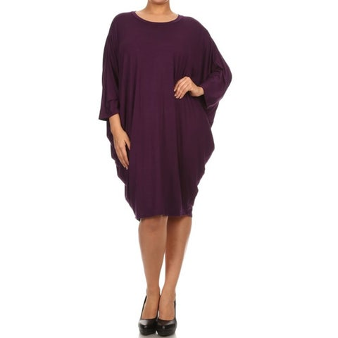 Women's Solid-colored Rayon/Spandex Plus Size Loose-fit Dress