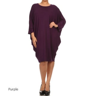 Women's Solid-colored Rayon/Spandex Plus Size Loose-fit Dress (More options available)