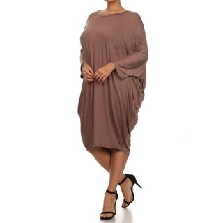 Women's Solid-colored Rayon/Spandex Plus Size Loose-fit Dress (3 options available)