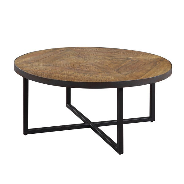 Emerald Home Denton Antique Pine Round Coffee Table with Round, Pieced Top And Metal Base