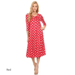 Women's Polka Dot Rayon and Spandex Mid-length Dress (More options available)