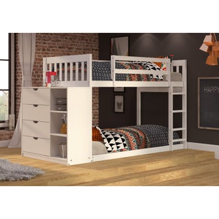 Donco Kids Mission Twin over Twin Chest and Storage Bunk Bed in White or Black Brown Finish