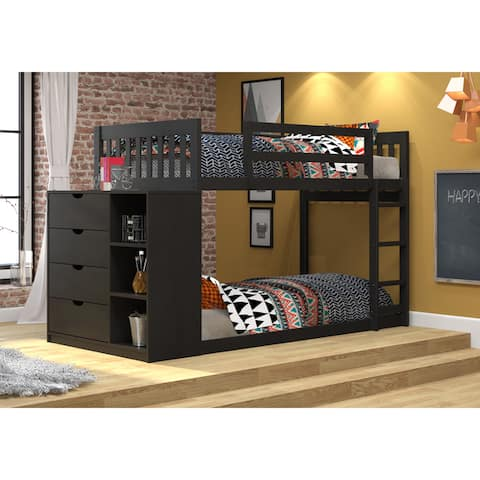 Donco Kids Mission Twin over Twin Chest and Storage Bunk Bed