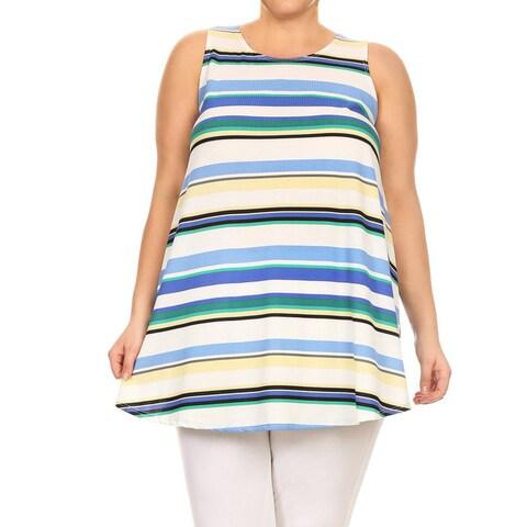 Women's Striped Plus-size Sleeveless Tunic Tank Top