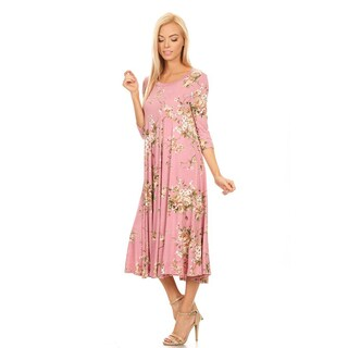 Women's Pink Rayon and Spandex Floral Dress