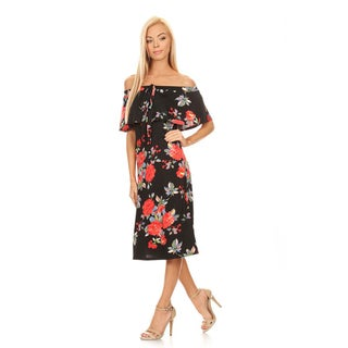 Women's Floral Rose Pattern Off-shoulder A-line Dress