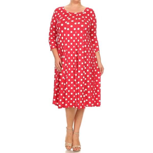 Shop Women\'s Rayon/Spandex Plus Size Polka Dot Dress - Free Shipping ...