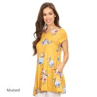 Women's Floral Rose Pattern Multicolor Spandex Tunic