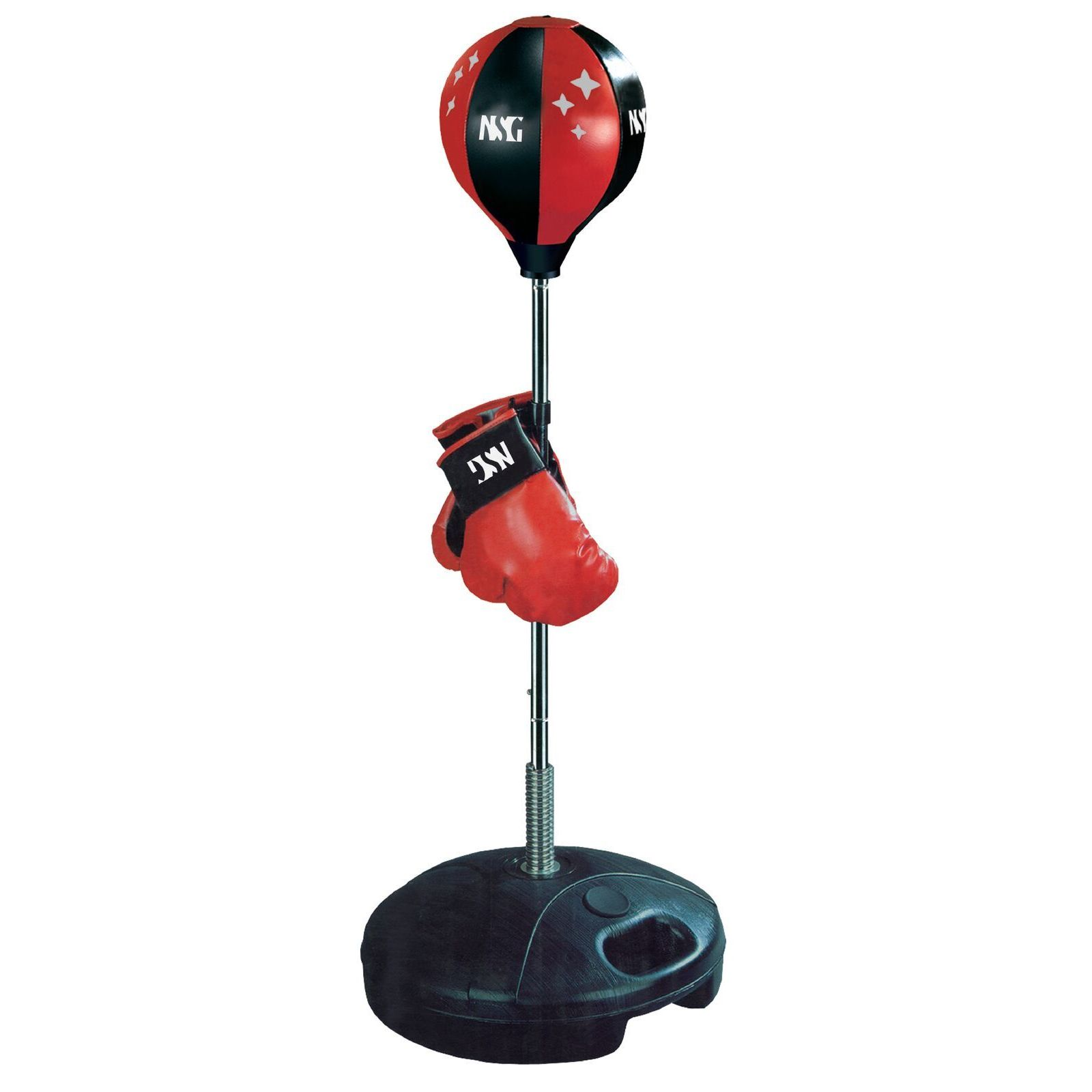 Kids' Black Glove and Punching Bag Boxing Combo (Black/Red)
