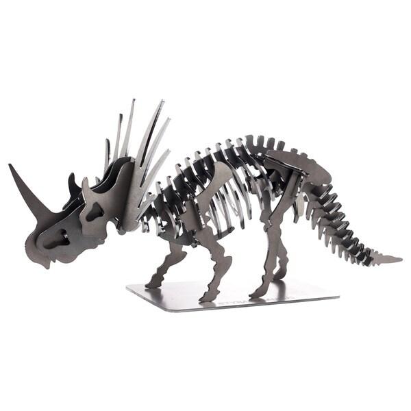 Metal 22-inch 3D Styracosaurus Dinosaur Puzzle - Charcoal
