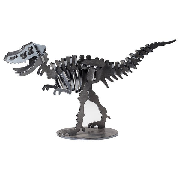 Metal 12-inch Velociraptor Dinosaur 3-D Puzzle - Charcoal