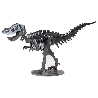 Metal 12-inch Velociraptor Dinosaur 3-D Puzzle - Charcoal