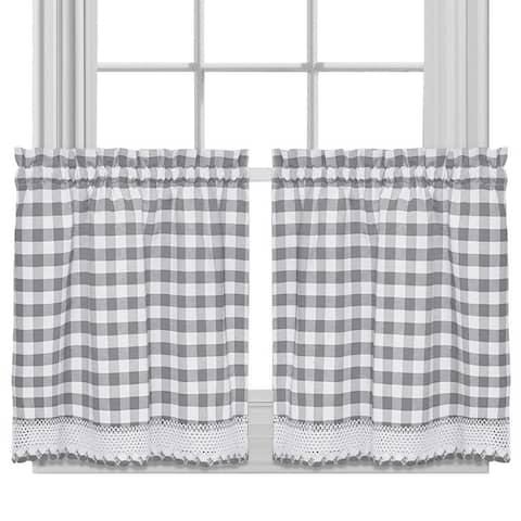 Buffalo Check Cotton Blend Grey Kitchen Curtain Tier Pair