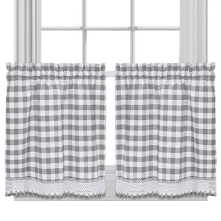Buffalo Check Cotton Blend Grey Kitchen Curtain Tier Pair
