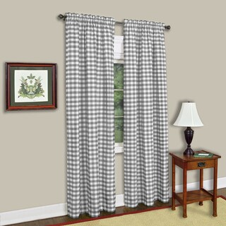 Buffalo Check Grey Cotton-blend Window Curtain Panel