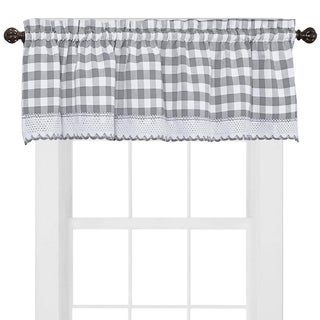 Buffalo Check Cotton Blend Grey Kitchen Curtain Valance