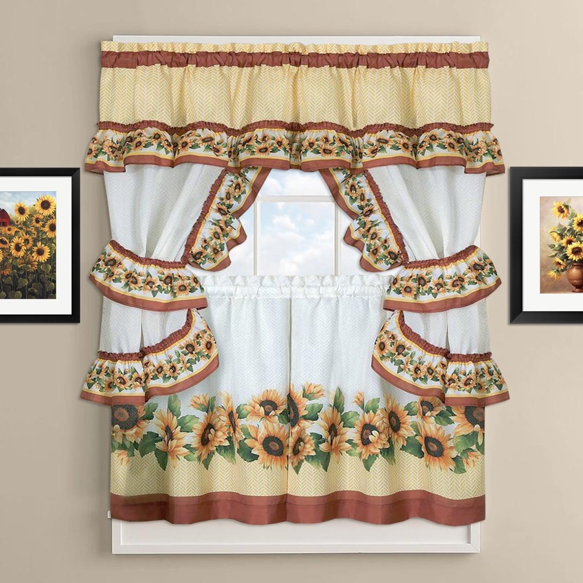 Sunflower Cottage Kitchen Curtain Tier and Valance Set (3...