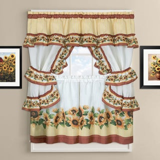 Sunflower Cottage Kitchen Curtain Tier and Valance Set