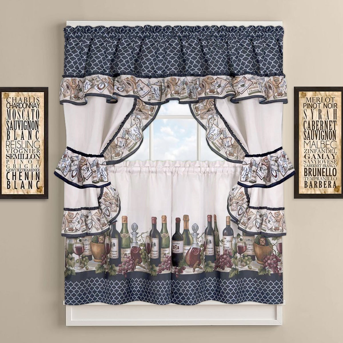 Chateau Wines Cottage Kitchen Curtain Tier and Valance Se...