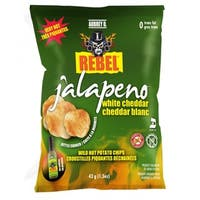Aubrey D Cheesy Jalapeno White Cheddar Potato Chips, a Perfect Blend of Cheddar and Spicy Jalapenos for a Nice, Light Bite
