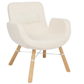 LeisureMod Milwood Beige Accent Side Lounge Armchair With Dowel Legs