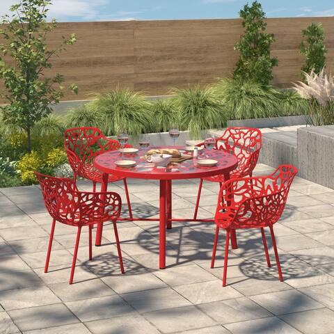 LeisureMod Devon Red Aluminum Indoor Outdoor Dining Armchair 4 Set