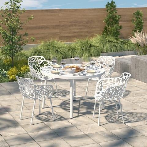 LeisureMod Devon White Aluminum Indoor Outdoor Dining Armchair, 4 Set