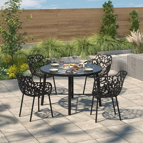 LeisureMod Devon Black Aluminum Dining Chair (Set of 4)