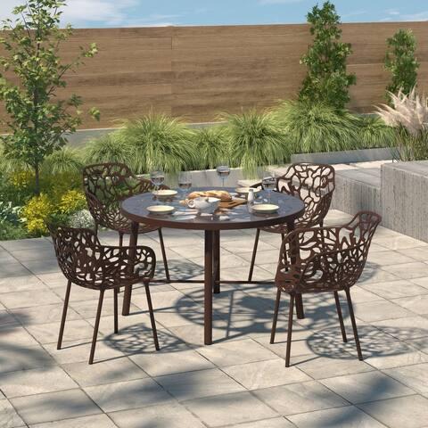 LeisureMod Devon Brown Aluminum Indoor Outdoor Dining Armchair 4 Set