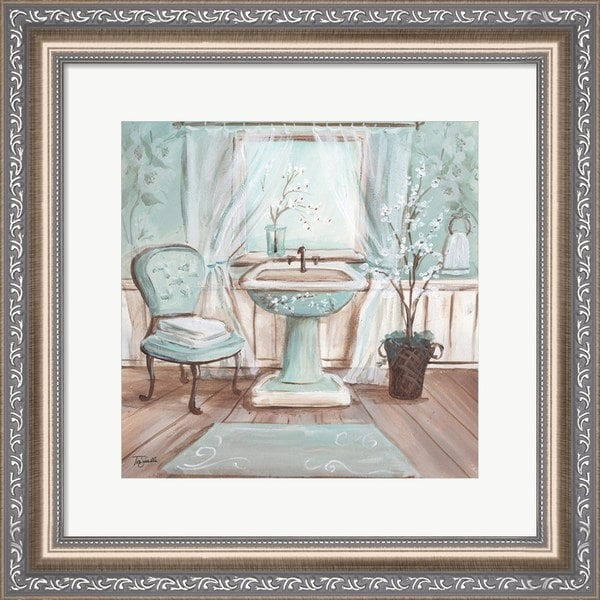 Shop Tre Sorelle Studios 'Aqua Blossom Bath I' Framed Wall Art - On Bath Tre Sorelle Home Designs Html on