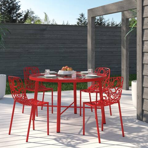 LeisureMod Modern Devon Aluminum Red Armless Chair, Set of 4