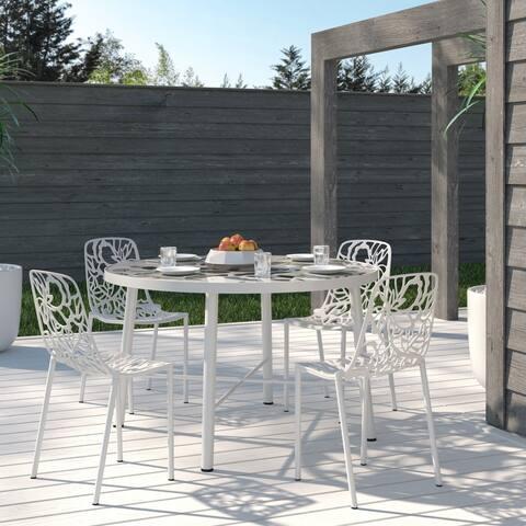 "LeisureMod Modern Devon Aluminum White Armless Chair, Set of 4 - 29"" H"