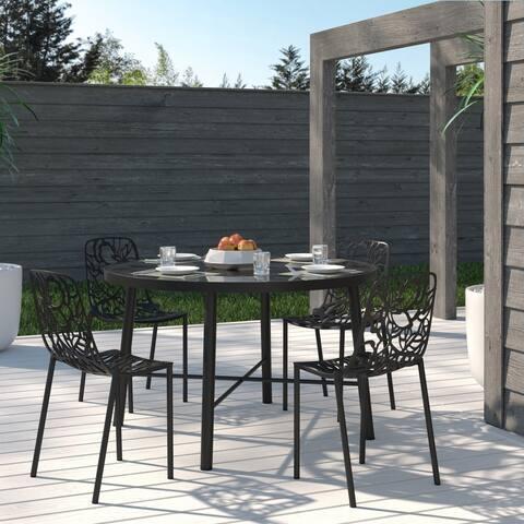 LeisureMod Devon Black Aluminum Indoor Outdoor Dining Chair Set of 4