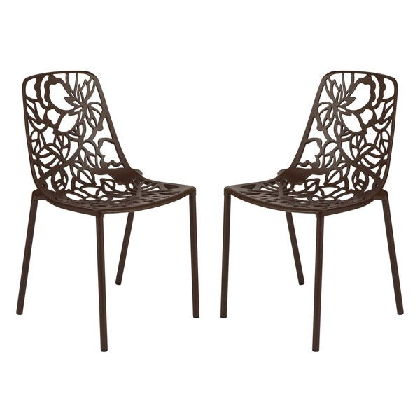 LeisureMod Modern Devon Aluminum Brown Armless Chair, Set Of 2