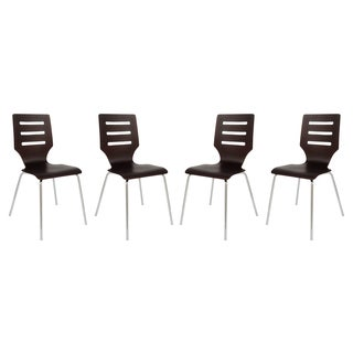 LeisureMod Revana Brown Plywood Chair with Chrome Frame, Set of 4