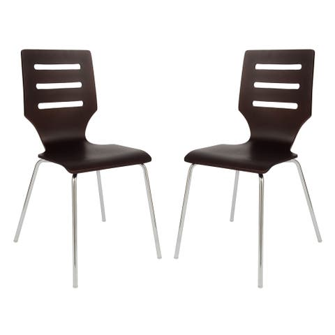 LeisureMod Revana Brown Plywood Chair with Chrome Frame, Set of 2