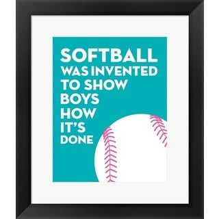 Sports Mania 'Softball Quote - White on Teal' Framed Wall Art