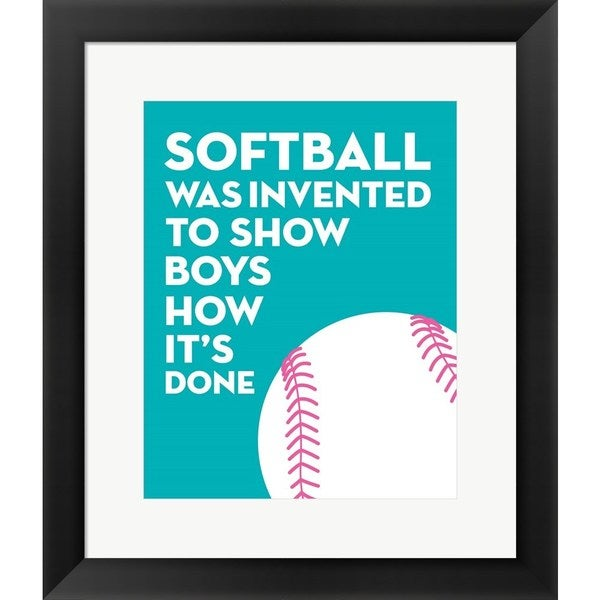 Sports Mania 'Softball Quote - White on Teal' Framed Wall Art - Multi