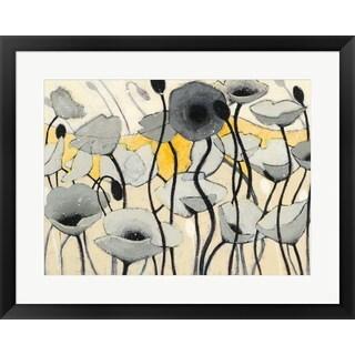 Shirley Novak 'Snow Day Grey Flower' Framed Art