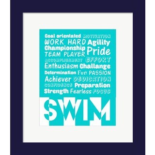 Sports Mania 'Swimming Word Cloud - White' Framed Wall Art
