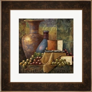 Janet Stever 'Cheese and Grapes' Framed Wall Art