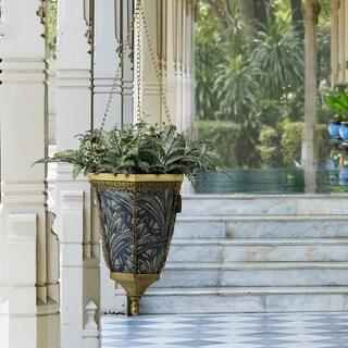 Bombay Outdoors Antique Gold Naya Hanging Fabric Planter With Royal Zanzibar Liner
